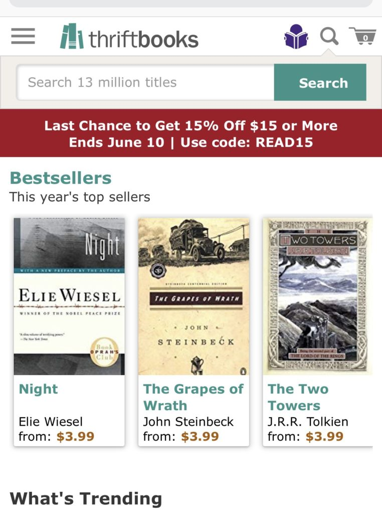 Front page for Thriftbooks mobile site.